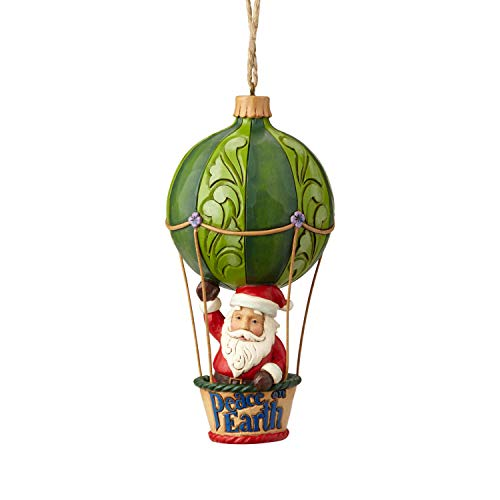 Enesco Jim Shore Heartwood Creek Santa in a Hot Air Balloon Hanging Ornament, 5