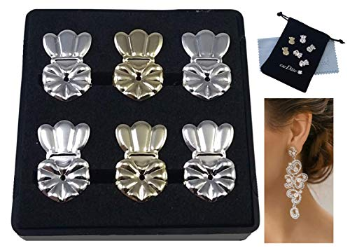 earDlite Crown Earring Lifters - 3 Pairs of Hypoallergenic Earring Lifts (2 Pairs Sterling Silver plated & 1 Pair 18K Gold plated) Includes: Jewelry Case, Velvet Pouch and 2 Jewelry Cleaning Cloths.