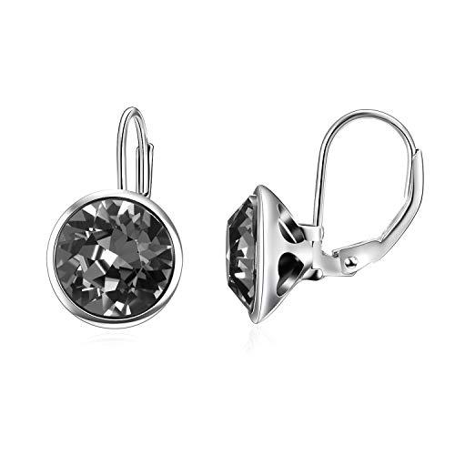 Bella Swarovski Earrings Pierced (AOBOCO Sterling Silver Crystal Bella Earrings Leverback Pierced Earrings with Swarovski Black Crystal,Elegant Jewelry Gift for Women Girls)