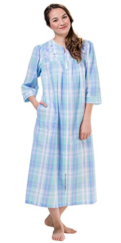 Seersucker Elaine Miss - Miss Elaine Long Seersucker Zip Front Robe in Blue Green Plaid (X-Large / 18-20, Blue Green Plaid)