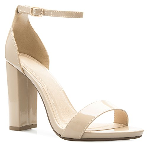 OLIVIA K Women's Strappy Chunky Block High Heel - Formal, Wedding, Party – Simple Classic Pump Beige Leather Heels