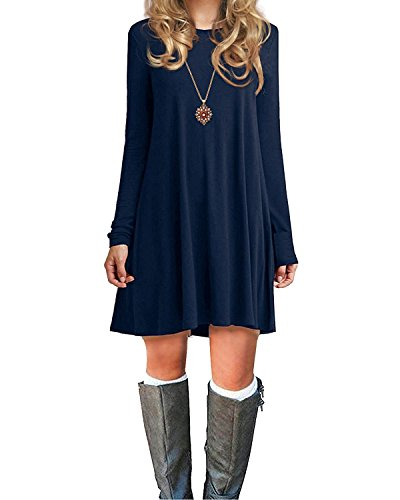 Century Star Long Sleeve Tunic Dress Casual Swing Plain T-Shirt Dress Soft Knee Length Dresses For Women Girls Navy Blue Large (Tag L) Buddha Fitted T-shirt