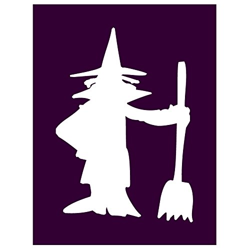 Auto Vynamics - STENCIL-WITCH-01 - Classic Witch w/ Broom Individual Stencil from Detailed Witches & Witchcraft Stencil Set! - 8-by-10-inch Sheet - Single Design (Set Hocus Magic Pocus)