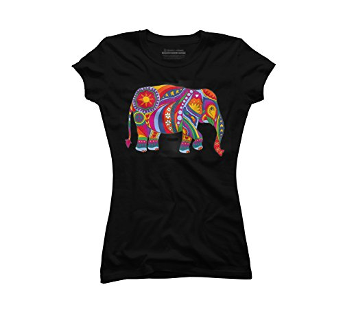 Psychedelic Elephant Juniors' 2X-Large Black Graphic T Shirt - Design By Humans (Design Juniors T-shirt)