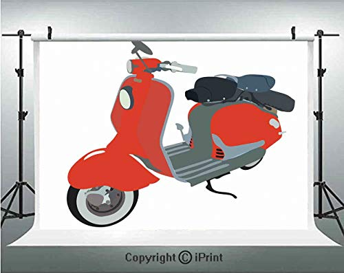 - 1960s Decorations Photography Backdrops Motor Scooter Doodle in Nice Sixties Style Driving Motorcycle Urban Cartoon Clipart Decorative,Birthday Party Background Customized Microfiber Photo Studio Prop