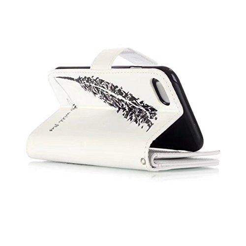 SRY-Bolsa para teléfono móvil Cubierta superior de la caja de la bolsa de la cartera de cuero de la PU con ranuras multi tarjeta y Kickstand para iPhone 7/8 ( Color : F ) D