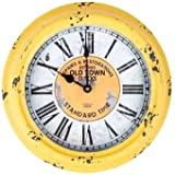 Antique Yellow Round Old Town Metal Wall Clock