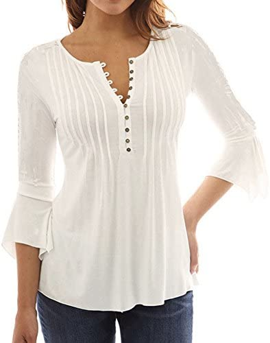 939c20a869b08 Celmia Women s Fashion Casual Loose Plain 3 4 Sleeve Buttons Down Blouse  Deep V-
