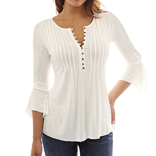 Celmia Women's Fashion Casual Loose Plain 3/4 Sleeve Buttons Down Blouse Deep V-Neck Tops Ruffled Cuff Shirts Off White (Long Sleeve Ruffled Blouse)