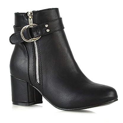 ESSEX GLAM Womens Ankle Boots Block Low Mid Heel Ladies Zip Buckle Strap Smart Booties Shoes 1