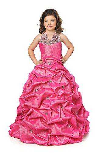 Fuchsia Taffeta Beading - Dexin Girls' Beading Halter Ball Gown Pleat Taffeta Pageant Dresses 16 US Fuchsia