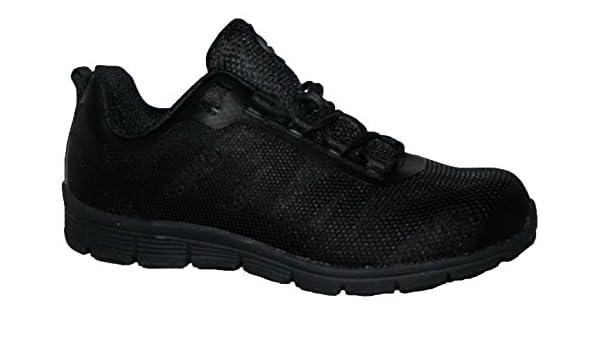 Ladies Bases Puntera de ACERO Seguridad Trabajo Entrenador Zapatos de Encaje Ultra Ligera, Color Negro, Talla 42