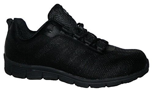 MENS GROUNDWORK STEEL TOE CAP SAFTEY ULTRA LIGHT WEIGHT LACE WORK TRAINER SHOES (UK9, black/black)