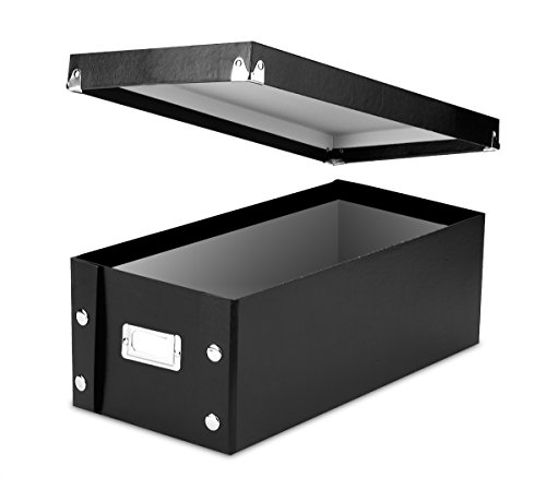 Snap-N-Store DVD Storage Boxes, 15.5 x 5.5 x 7.625 Inches, Black, 2 Boxes per Pack (SNS01618) ()