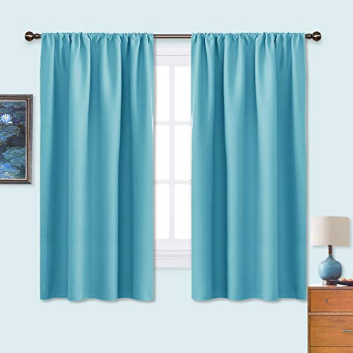 NICETOWN Kitchen Blackout Curtains Panels - Window Treatment Thermal Insulated Solid Room Darkening Rod Pocket Drapes for Bedroom (Teal Blue, Set of 2 Panels,42 by 63 inches Long) (63 Inch Thermal Curtain Pair)