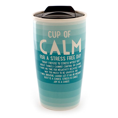 "Enesco 6000081 Our Name Is Mud ""Calm"" Stoneware Travel Coffee Mug Thermos, 14 oz, Aqua - Aqua Mug"