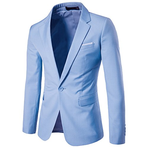 Men's Suit Jacket One Button Slim Fit Sport Coat Business Daily Blazer Light Blue