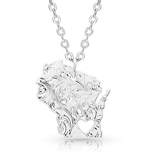 Montana Silversmiths I Heart Wisconsin State Charm Necklace