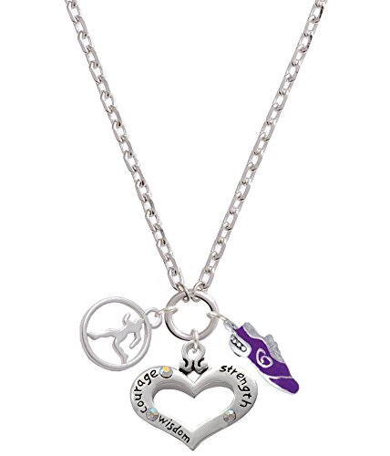 (Delight Courage Strength Wisdom Heart - Runner Disc and Purple Running Shoe Zoe Necklace)