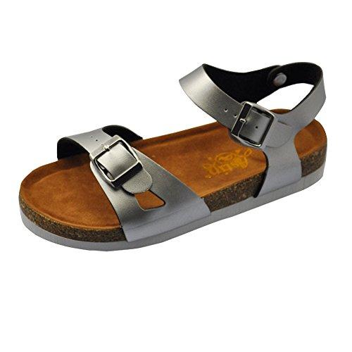 Sandalias de verano de las mujeres Zapatos Sandalias Planas Zapatos De Damas de plataforma Zapatos de la playa Plateado
