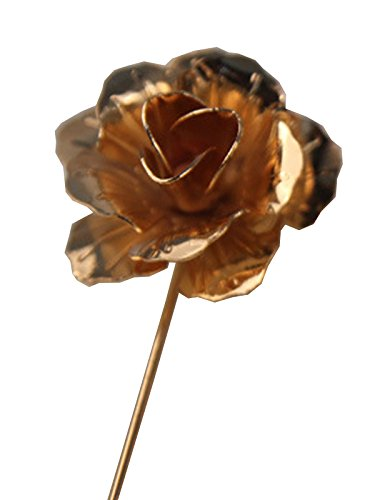 Metal Floral Pin (S& E Men's Floral Golden Flower Lapel Stick Brooch Pin for Suit Tuxedo)