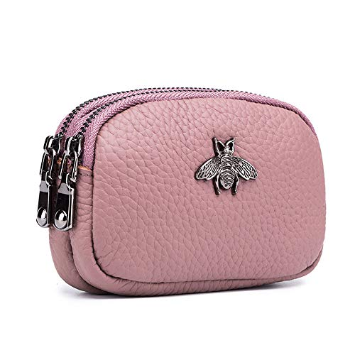 Aladin Genuine Leather Little Bee Hardware Design Double Zipper Coin Purse Change Coin Wallet Zipper Card Holder Wallet Pink
