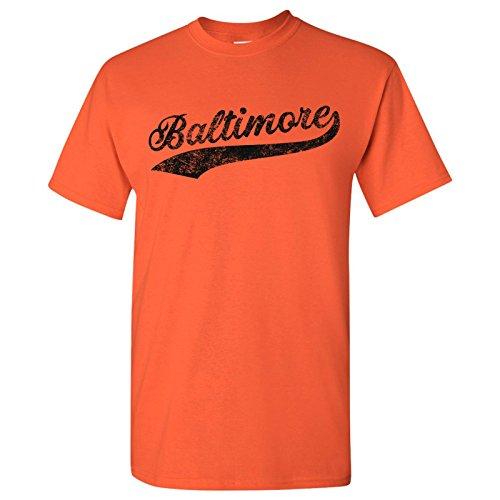 - UGP Campus Apparel Baltimore City Baseball Script Basic Cotton T-Shirt - 3X-Large - Orange