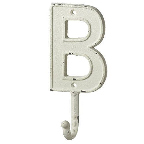 Monogram Letter B Single Wall Hook Painted Cast Iron 7.5 Inch