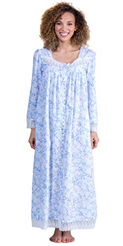 (Eileen West Cotton Robe or Nightgown - Long Sleeve Button Down in Floral Darling (White/Blue Floral, Large))