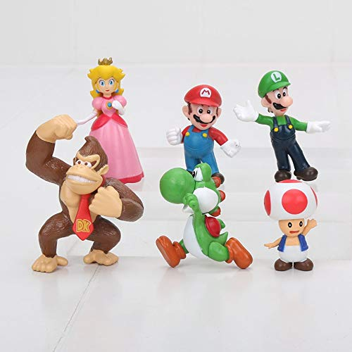 VIETCJ 6Pcs/Set 4-6Cm Super Ma Bros Ma Peach Toad Action Figure PVC Toys Kids Gifts- Legends Gifts Movies Comic Toys Collection