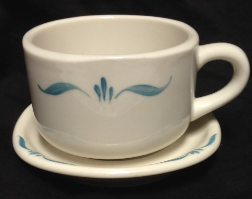 (SYRACUSE Restaurant Ware 1960's NORMANDY Handpainted TRENDS Squared COFFEE CUP & SAUCER Set)