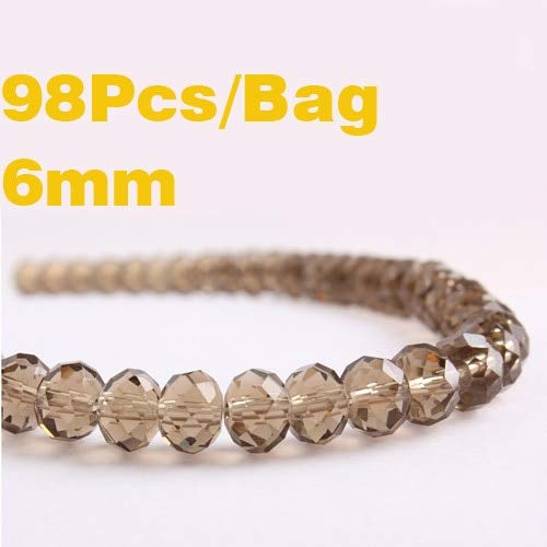 Calvas New AAA 6mm Glass Crystal Beads Smokey Quartz Faceted Flat Round Bead DIY Earrings Bracelet Choker Necklace Jewelry Making - (Color: 6mm 98pcs, Item Diameter: ()