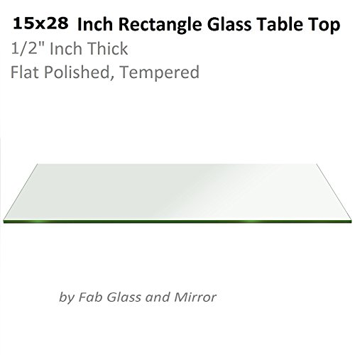 Fab Glass and Mirror 1/2'' Thick Flat Edge Tempered Radius Corner Rectangle Glass Table Top, 15'' X 28'' by Fab Glass and Mirror