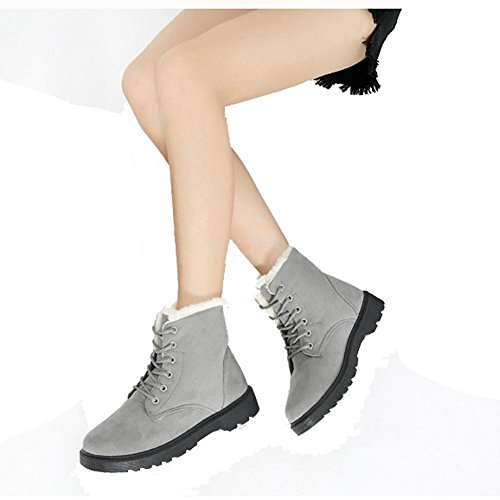 Women Martin Short Boots Suede Leather Flat Heel Thicker Plush Warm Casual Shoelace Ankle Cotton Shoes GRAY-41 MjyYl