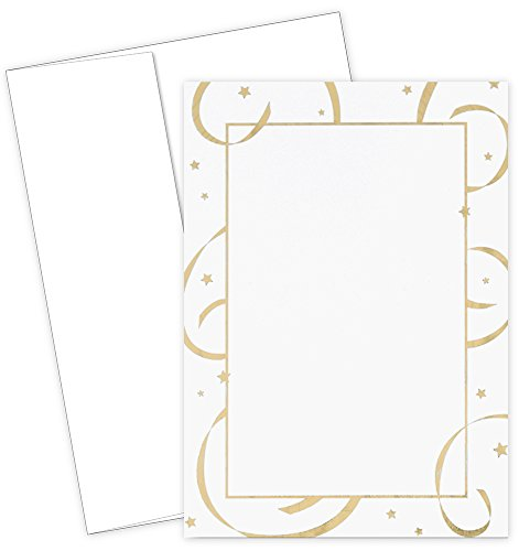 - Great Papers! Gold Foil Stars & Streamers Flat Card Invitations with Envelopes, 5.5