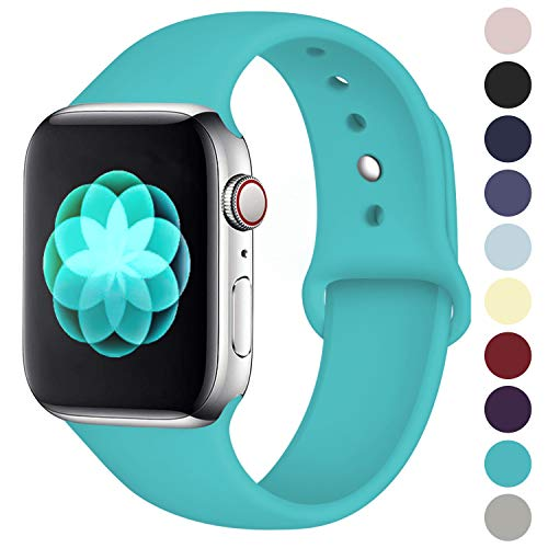 Teal Band - ilopee Cute Bands Seamless Fit for iWatch Series 4 3 2 1 38mm 40mm, Teal, S/M