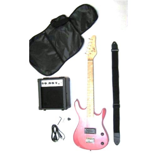 Directly Cheap 6 String Electric Guitar Pack, Pink + Learn to Play Guitar Dvd (GE36CO)