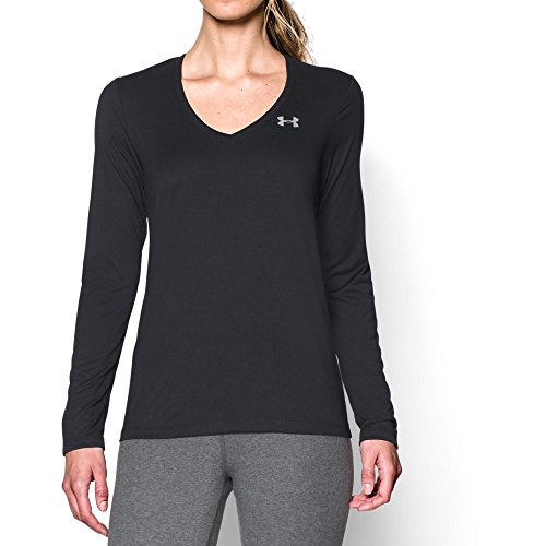 Under Armour Women's Tech Long Sleeve, Black/Metallic Silver, X-Small