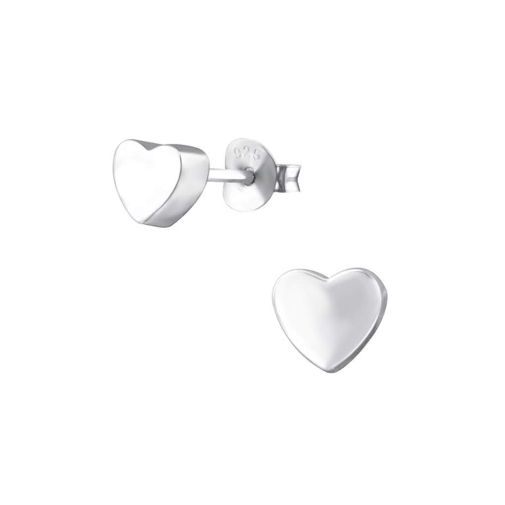 3D Heart Plain Ear Studs 925 Sterling Silver Liara Polished And Nickel Free