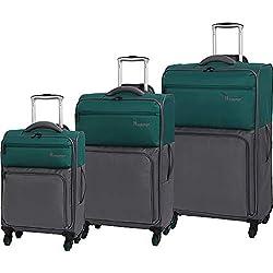 it luggage Duotone 4 Wheel Lightweight 3 Piece Set, Teal Green Steel Gray