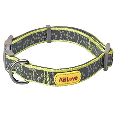 AOLOVE Reflective Collar Soft & Comfortable Padded Polka Dots Nylon Adjustable Collars for Puppy Small Medium Large Dogs (Neck Fit 18'' - 24'', Lime Green) - 18' Nylon Collar