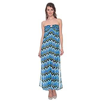 Cocum Blue Chiffon Casual Dress For Women
