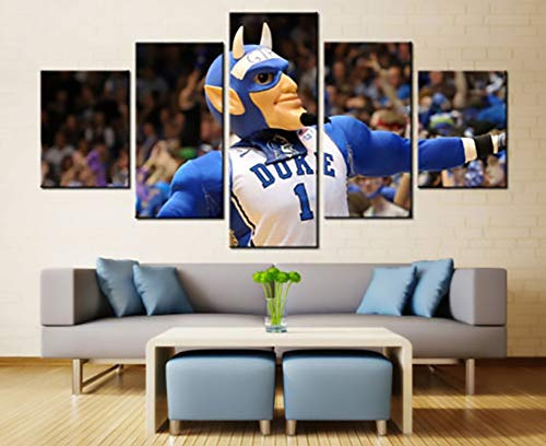 sansiwu X Canvas Wall Art 5 Pcs Canvas Duke Blue Devil Mascot Hd Print Basketball Wall Art Home Decor