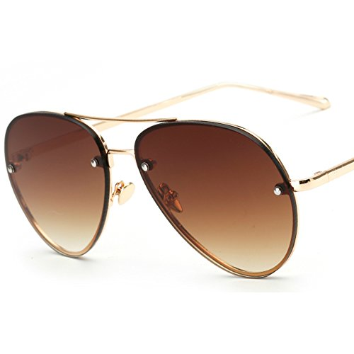 Freckles Mark Oversize Gold Metal Mirror Clear Vintage Aviator Sunglasses 62mm (Brown, - Sunglasses Military Vintage Aviator