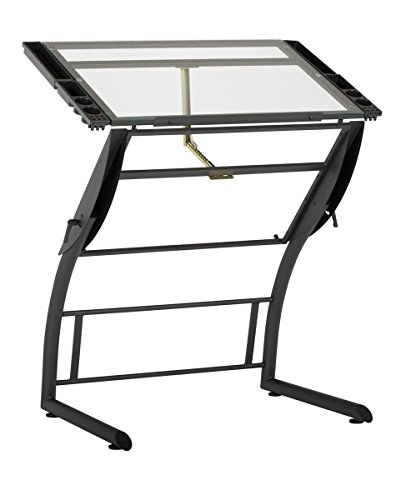 Charcoal Clear Glass - Offex Home Triflex Drawing Table Charcoal/Clear Glass