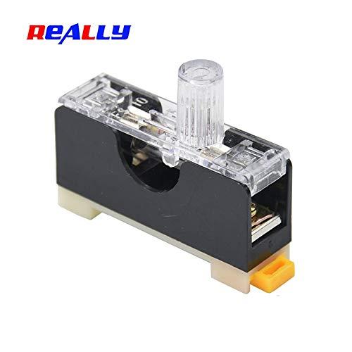 Davitu REALLY FS-101 Din Rail Mount Single Pole 6X30mm Fuse Holder Glass fuse tube fuse casing - (AMP: 10A) ()