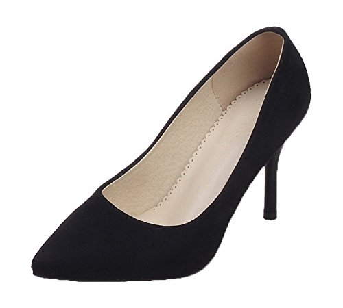 VogueZone009 Women's Pull-On Frosted Pointed-Toe High-Heels Solid Pumps-Shoes Black