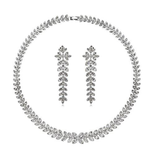 AnaZoz Bijoux Parurus Fantaisie Femme Collier Argent Cristal Design Feuille Boucles d'Oreilles & Collier Transparent