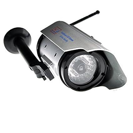 99digitals® Alta Calidad Energía Solar Luz LED Cámara Falsa de Vigilancia Simulada-Plateado y