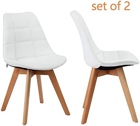 GreenForest Dining Chairs Set of 2, Upholstered Leather Kitchen Chairs Accent Leisure Chair for Living Room, White